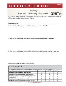 Adult Activity Decision Making Worksheet - CH3