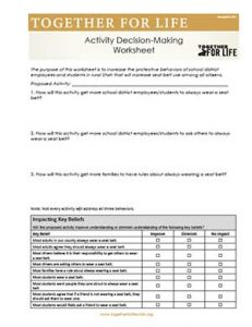 School/Student Activity Decision-Making Worksheet